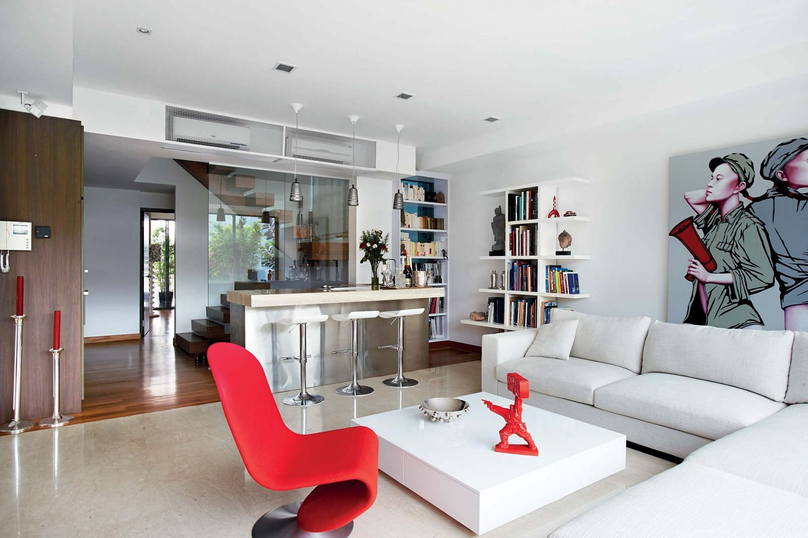 living room, kitchen top, red, electric, modern