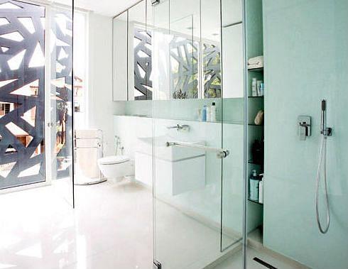 bathroom, glass, glass walls