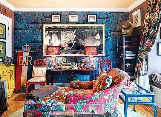 maximalist, maximalism, pattern wallpaper, pattern cushions, interior design, living room