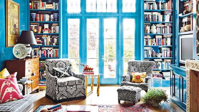 maximalist, maximalism, maximalist interior design, living room, study, blue