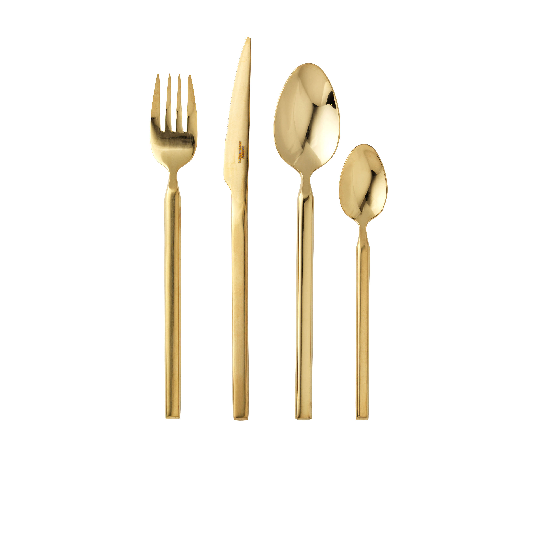 Cutlery, fork, spoon, knife, gold