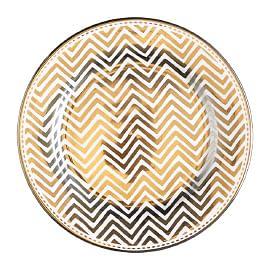 plate, tableware, gold, pattern, chevron pattern