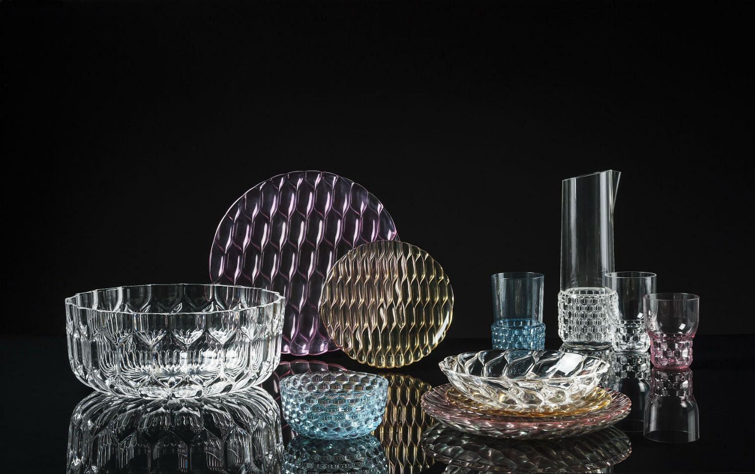 Kartell, tableware, acrylic tableware, plates, bowls