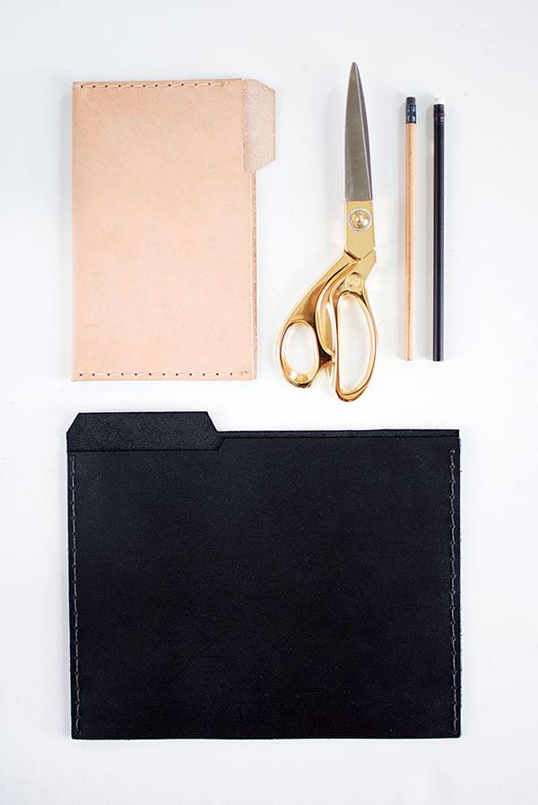 leather, file, folder, desk, diy, revamp