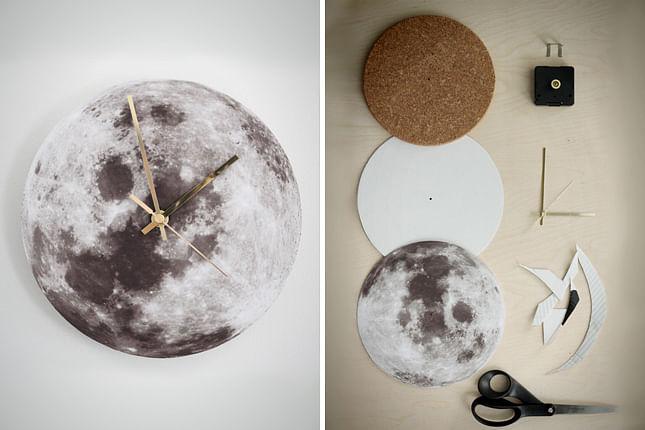moon, clock, handmade, desk, revamp