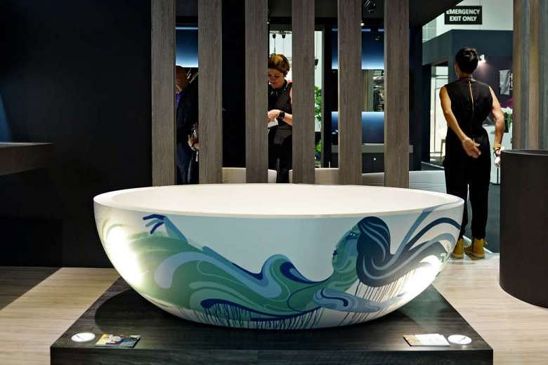 A bathtub painted by muralist James Reka on display at the Maison&Objet Asia show at Marina Bay Sands in 2014, the first show in Singapore.PHOTO: ST FILE