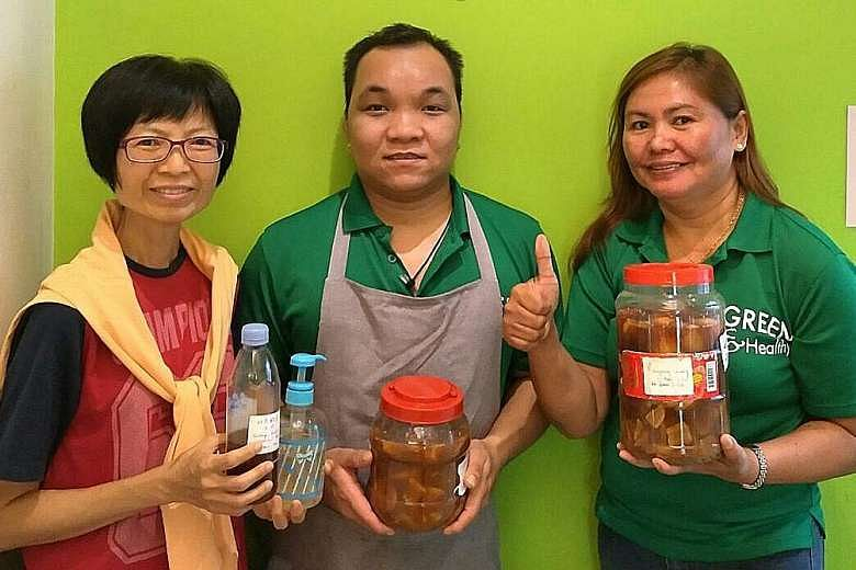 At Eco-harmony cafe, which is part of charity and education foundation Kampung Senang, its staff uses garbage enzymes to wash dishes.PHOTO: ALVIN TAN