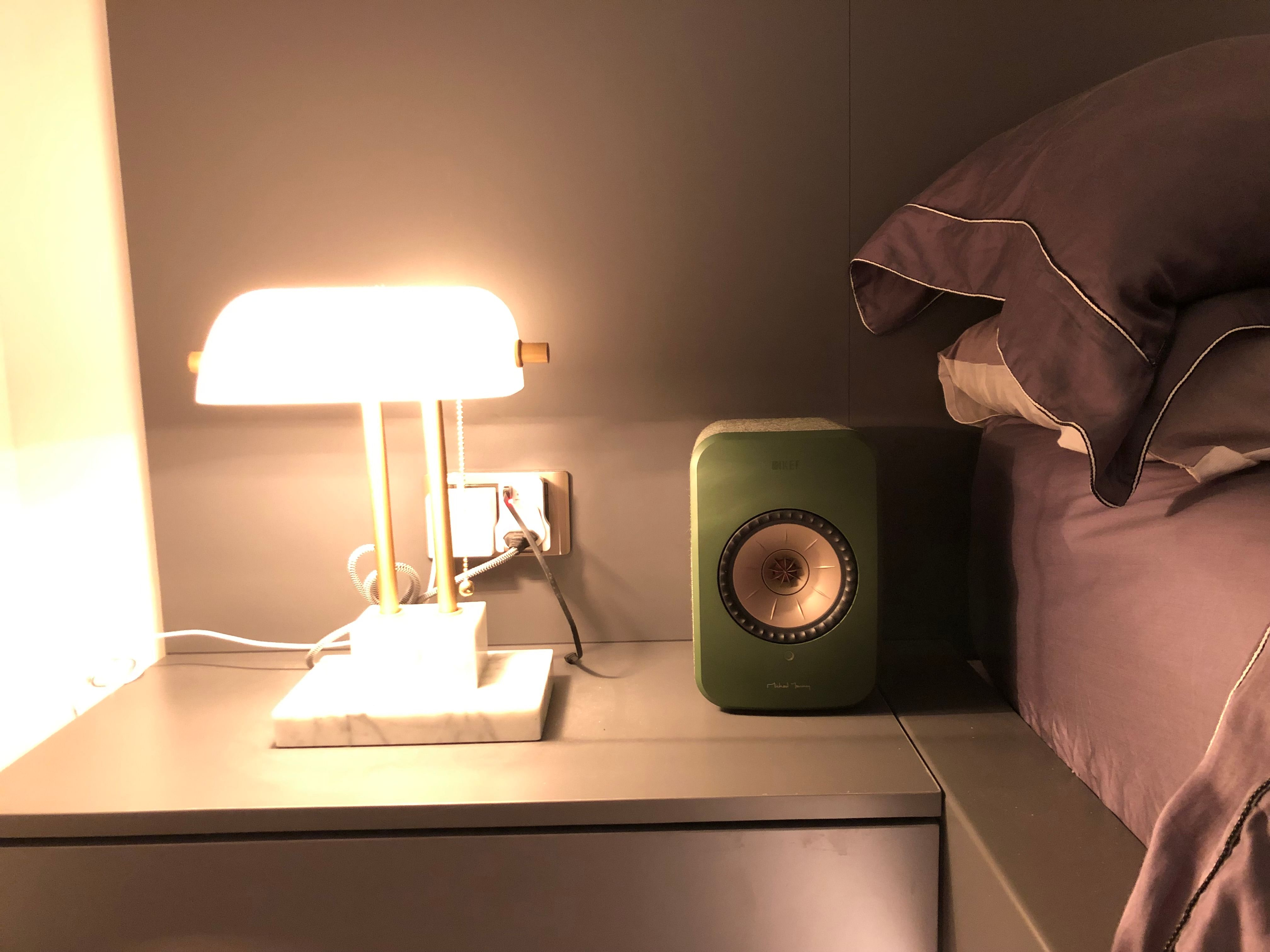 The LSX speaker looking sleek and stylish on the bedside table.