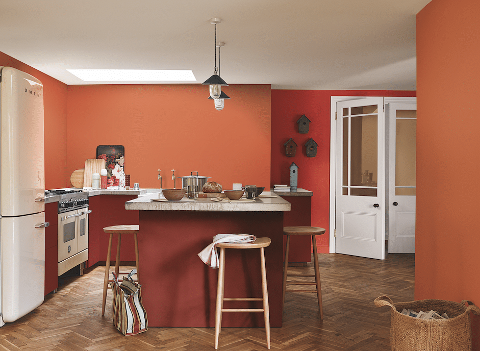 dulux spiced honey and terracota and burgundy paint