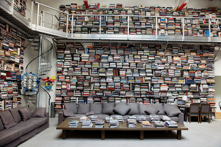 Karl Lagerfeld's home is covered in books from his extensive collection