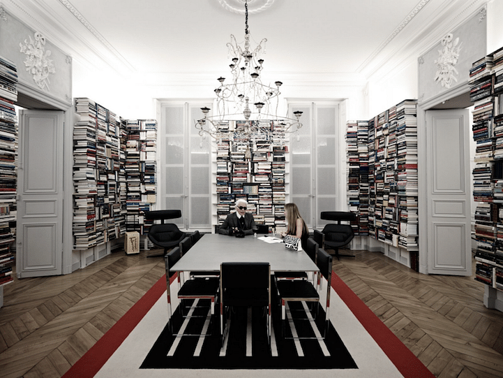 Neutral colours and white play throughout Karl lagerfeld's home.