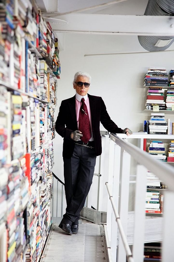 Karl Lagerfeld at home.