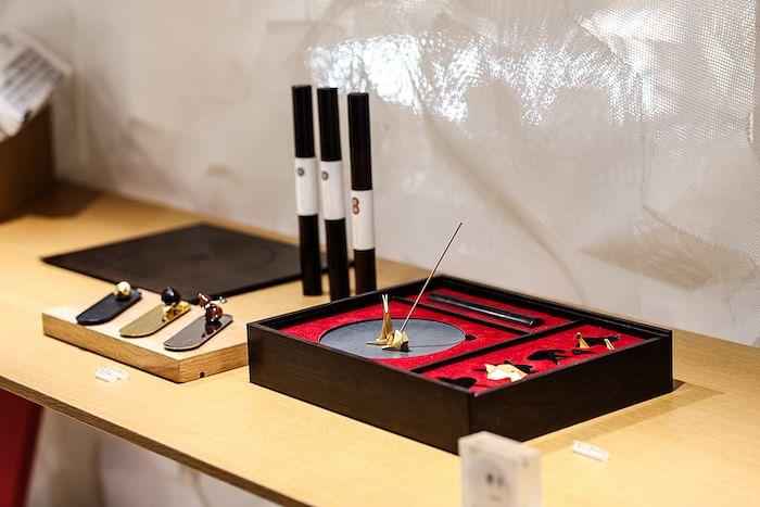 Inkstone and brass incense set _ $588