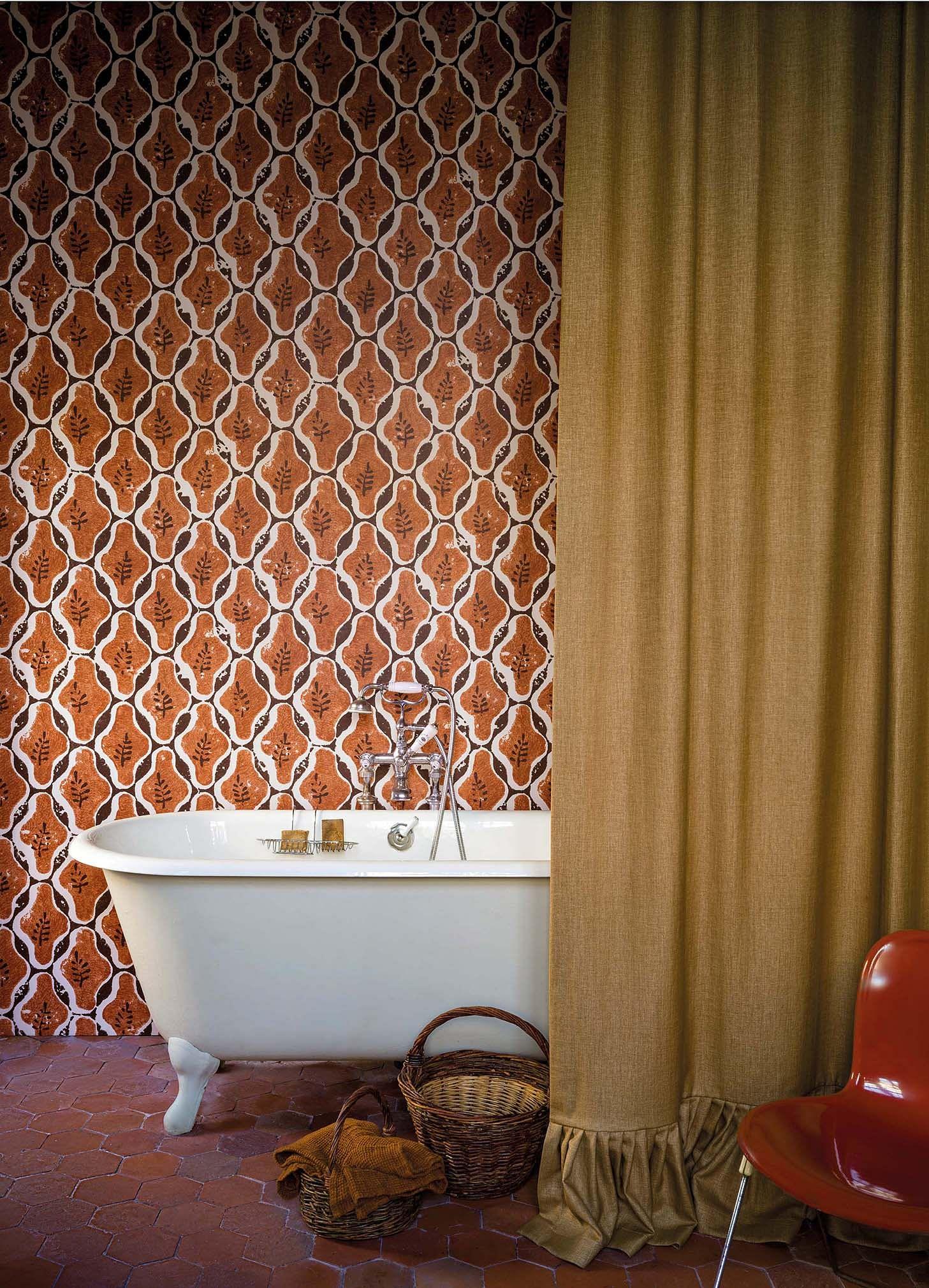 Màu đất nung terracotta, rèm màn bồn tắm cao cấp